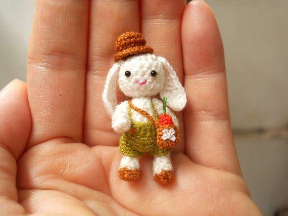 Bunny Rabbit Boy Miniature Crochet Bunny Amigurumi Doll by SuAmi