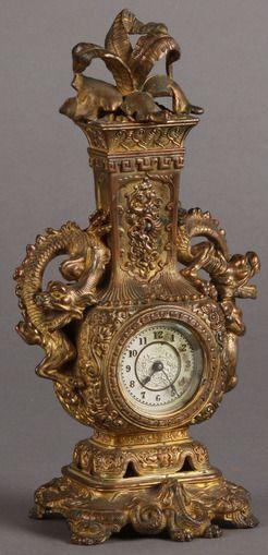 Novelty Clock; Ansonia, Tokio, White Metal, Gold Wash, 10 inch.  Year: 1895 - 1905