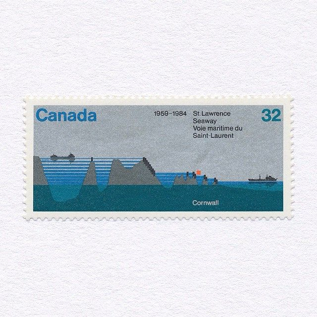 25 Years of Saint Lawrence Seaway. A combination issue with USA (posted 14/02/2014).(32c). Canada, 1984. Design: Ernst Barenscher. #mnh #graphilately