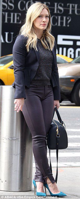 Hilary Duff - chic style - grey and black with a pop of colour with teal heels