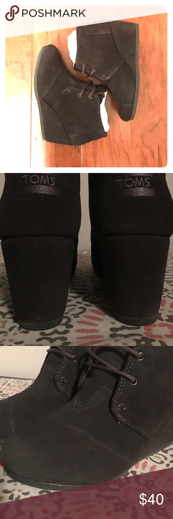 Toms Desert Wedge Booties Castlerock Grey 7M Lovingly worn a few times, but still in excellent condition. There is very light evidence of wear on them, but I tried to picture the one spot that could be pointed out as a flaw. They come with the original box. TOMS Shoes Ankle Boots & Booties