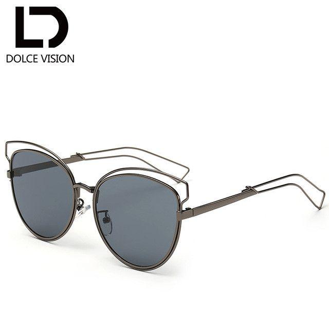 DOLCE VISION Fashion 2017 Women's Cat Eye Sunglasses Silver Mirror UV400