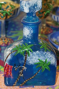 Artist Signed Handpainted Art Glass Bottle Decanter Tropical Beach Sea Palm DGB3.  For any questions or If you cannot locate this listing right away, please contact us at cheetahdmr@aol.com