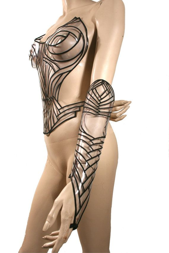 clear embroidered gauntlets arm cuffs futuristic sci fi by divamp