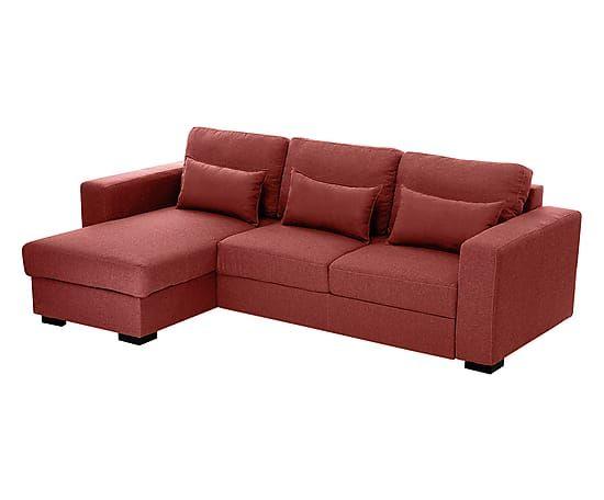 Divano letto con chaise longue reversibile Marseille bordeaux, 250x75x155 cm