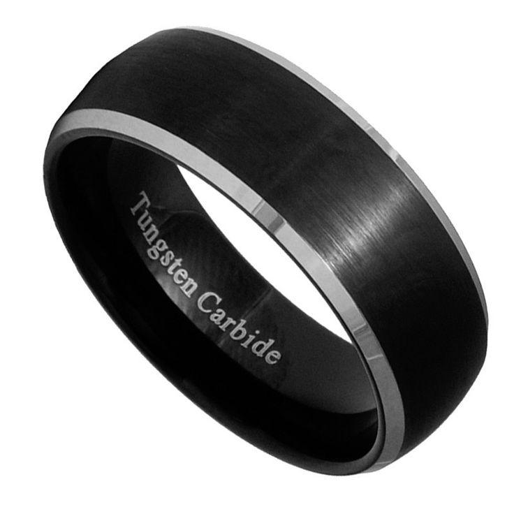 8mm Black Brushed Tungsten Carbide Men Women Ring Wedding Band Size 7 15