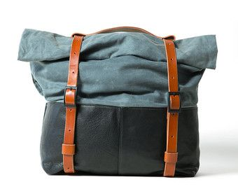 Leather and Waxed Canvas Weekender Bag Olive Canvas by AwlSnap