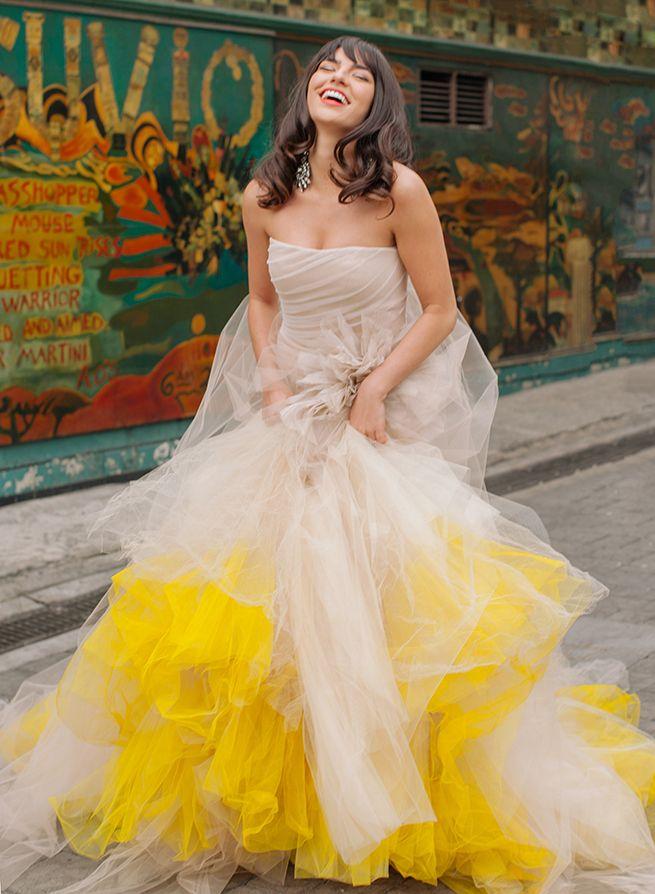Yellow Vera Wang Pavlova Mermaid Gown Colored Wedding Dresses