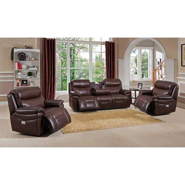 Save The Kubik 3 Piece Leather Reclining Living Room Set By Red