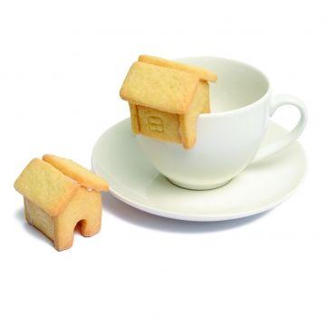 Afbeelding van Uitsteekvorm voor koekjes, huisje, vertind metaal, 3 cm