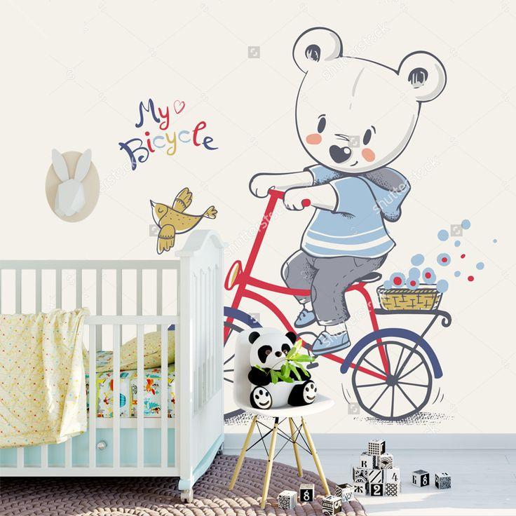 Fotobehang Beertje op de fiets | Maak het jezelf eenvoudig en bestel fotobehang voorzien van een lijmlaag bij YouPri om zo gemakkelijk jouw woonruimte een nieuwe stijl te geven. Voor het behangen heb je alleen water nodig! #behang #fotobehang #print #opdruk #afbeelding #diy #behangen #beer #beren #beertje #fiets #dier #dieren #babykamer #illustratie