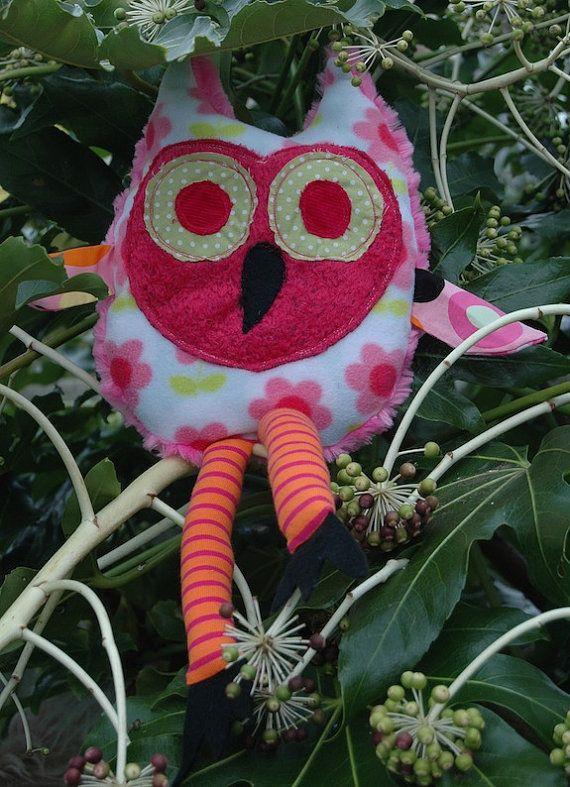 Childs Stuffed toy Owl   Nursey decor  handmade by Madfishstuff, $34.00