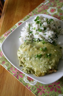 Chicken with Poblano Cream Sauce - a healthy version of this Mexican food favorite.  Chicken covered in a creamy poblano sauce and sprinkled with cheese.
