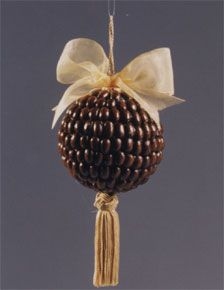 Or how about a coffee bean ornament?  The beans are glued on a styrofoam ball. Find it on FaveCrafts.com