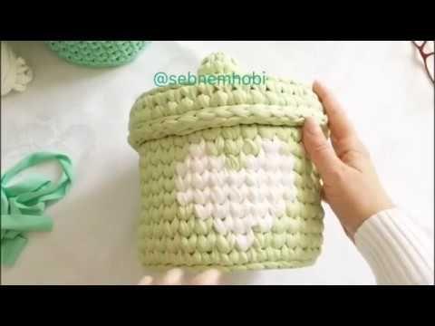Kalp desenli kapaklı yuvarlak sepet yapımı Part 2 - YouTube