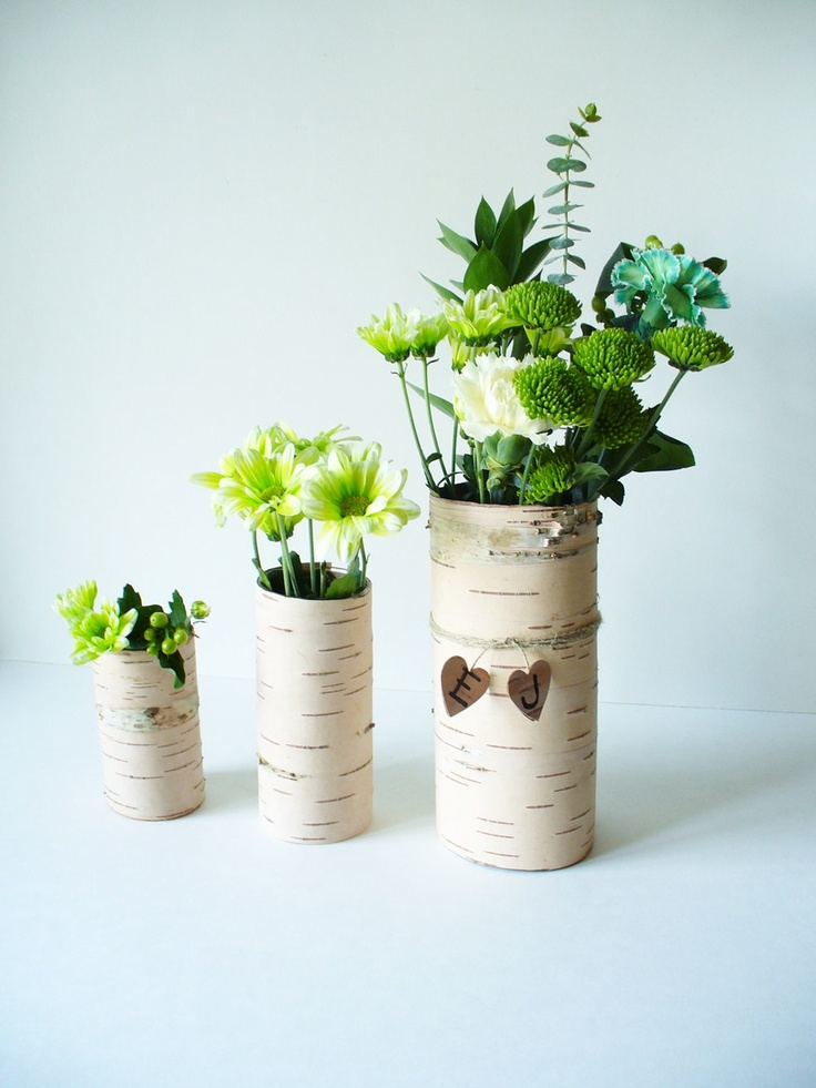 Birch Bark Vase Rustic Country Cottage Farmhouse Woodland Natural Wedding Table Setting for 8 Tables