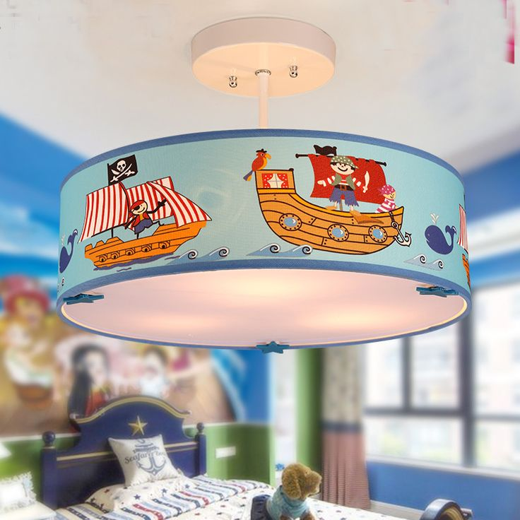 Modern Children's bedroom Droplight Cute Cartoon Mediterranean Pirate  Boat Navigation Eye protection Round Cloth Pendant Light #Affiliate
