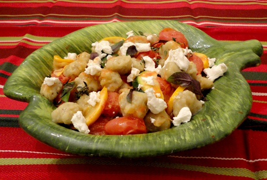 Smoked eggplant gnocchi with confit cherry tomato, zucchini and goat cheese. Soooo yummy!