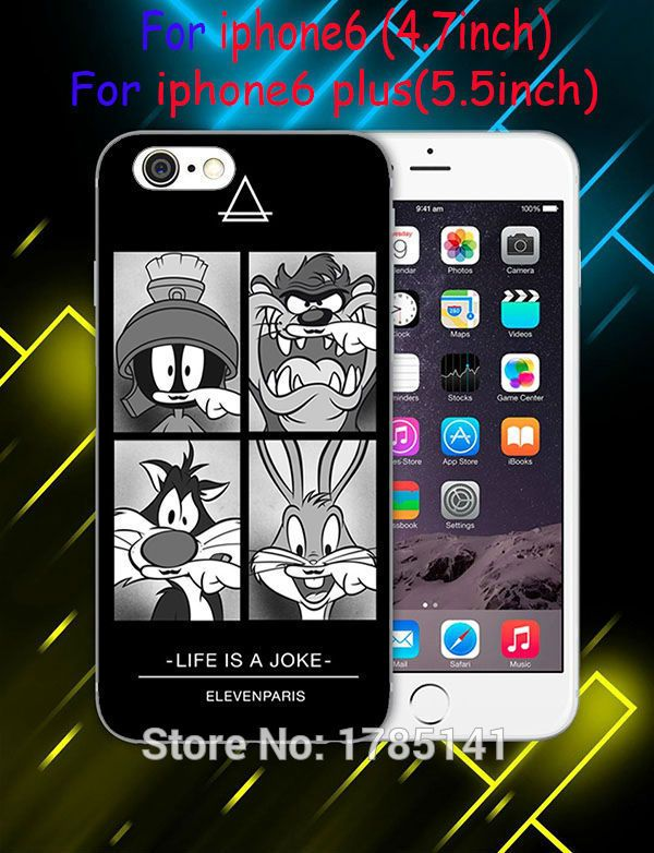 1pcs Coque eleven paris Cartoon cat faces life is a joke hard white Case for iphone6 6S i7(4.7inch) and i6Splus i7plus(5.5inch)