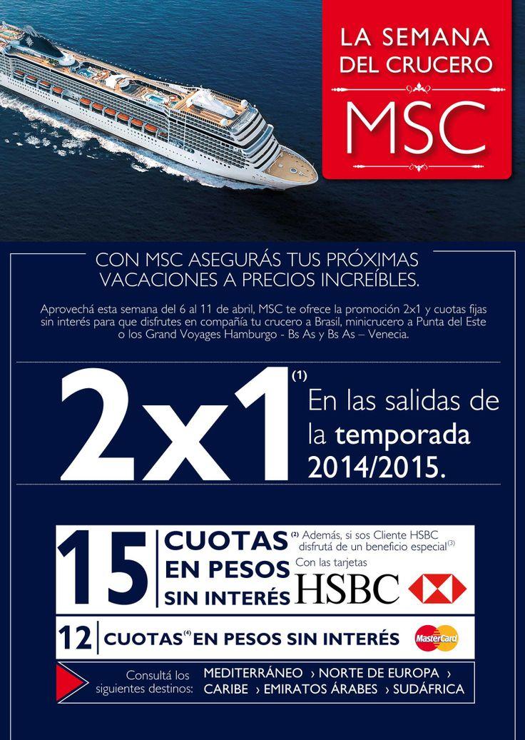 """¡La semana del Crucero MSC! Cruceros por Brasil desde Buenos Aires. Temporada 2014-2015. """"Promoción 2x1 y hasta 15 cuotas sin interes"""""""