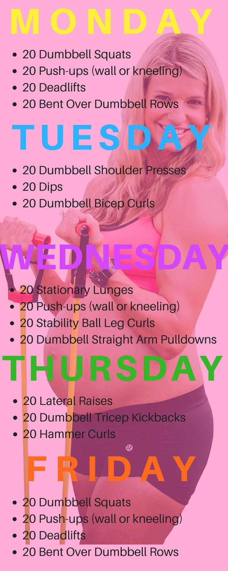 5 Day Prenatal Workout at home.  No gym needed.  Safe prenatal workout for a week.