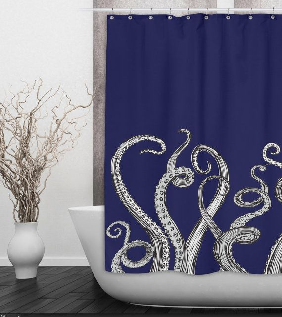 Fun octopus tentacle shower curtain shown here in navy for Tentacle shower curtain