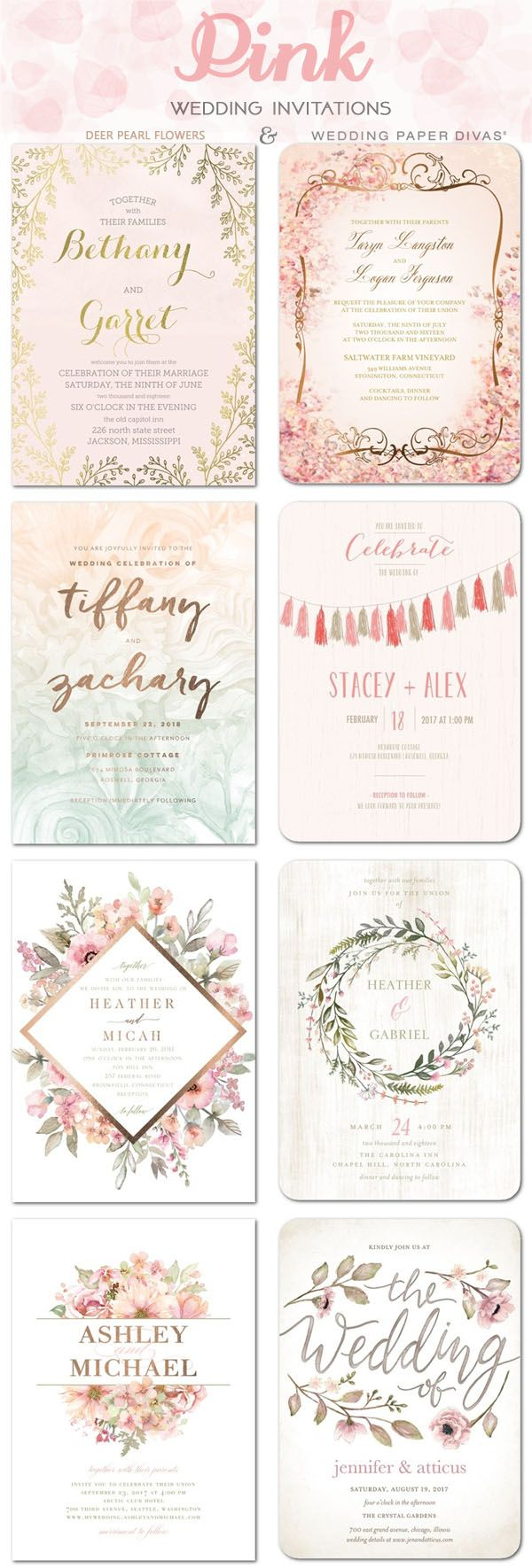 Pink wedding color ideas - Pink wedding invitations / http://www.deerpearlflowers.com/wedding-paper-divas-wedding-invitations/2/