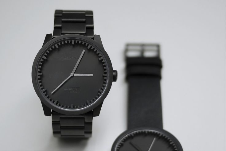 LEFF amsterdam tube watch s42 and d42 black close up