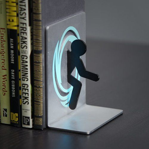 Portal 2 Bookends for Shelf and Books / These are not just bookends, but also officially licensed Portal collectibles. http://thegadgetflow.com/portfolio/portal-2-bookends-shelf-books/