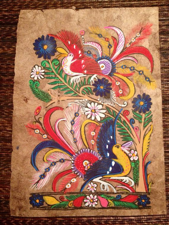 Retro Mexican Folk Art Bark Painting by VintageGetup on Etsy, $30.00