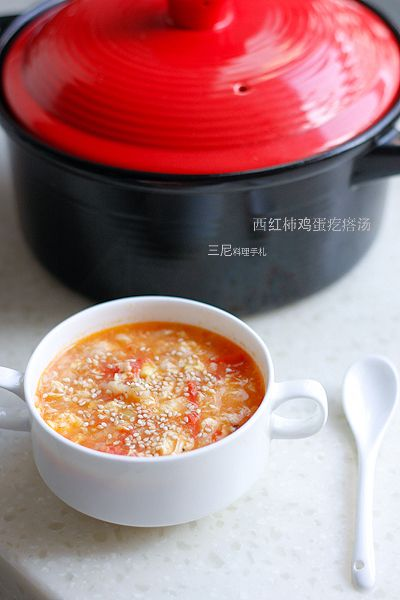 Breakfast Tomato and egg soup