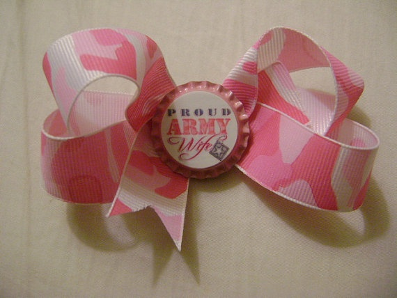 Pink Camo bow with Proud Army Wife  bottle by weddingfundcreations, $4.50