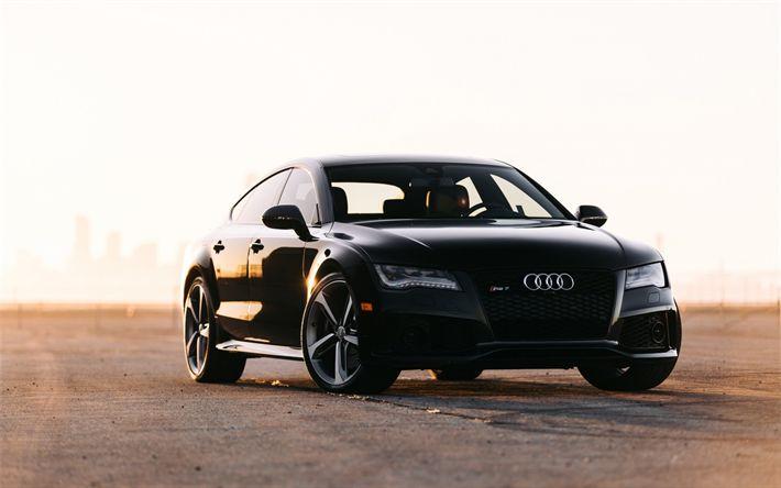 Download wallpapers Audi RS7, 2017, VAG, Black RS7, sport sedan, tuning, sunset, German cars, Audi