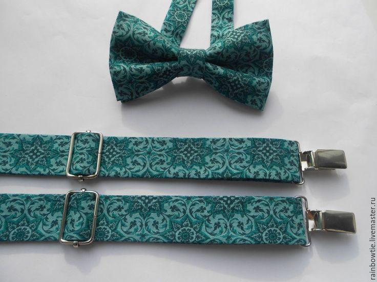 Купить Комплект бабочка и подтяжки в бирюзовых тонах - тёмно-бирюзовый, орнамент, галстук-бабочка