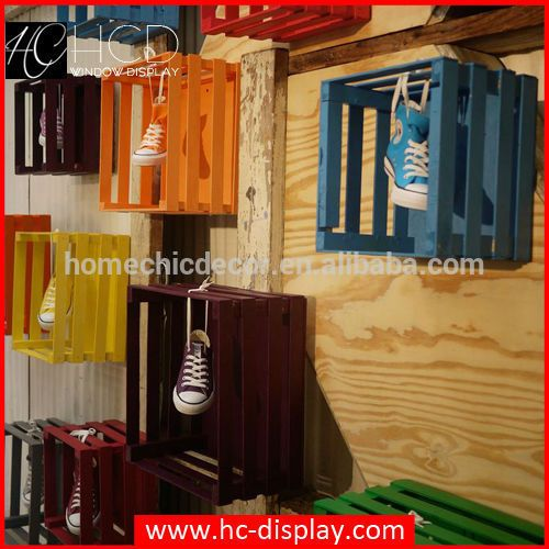 Window display props of wooden crates wholesale for shoes