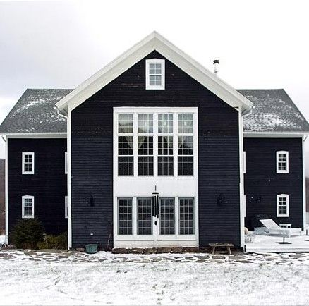 Navy with white trim beautiful aspect properties for Farmhouse exterior paint colors