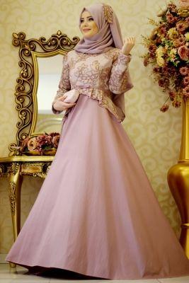Gamze Polat Lila Safir Tesettür Abiye Elbise