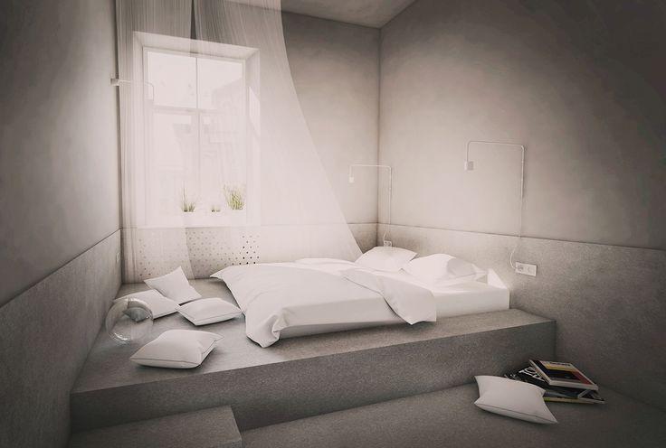 PERŁA BREWERY APARTMENTS   minimal grey bedroom, hotel room, bed niche, felt