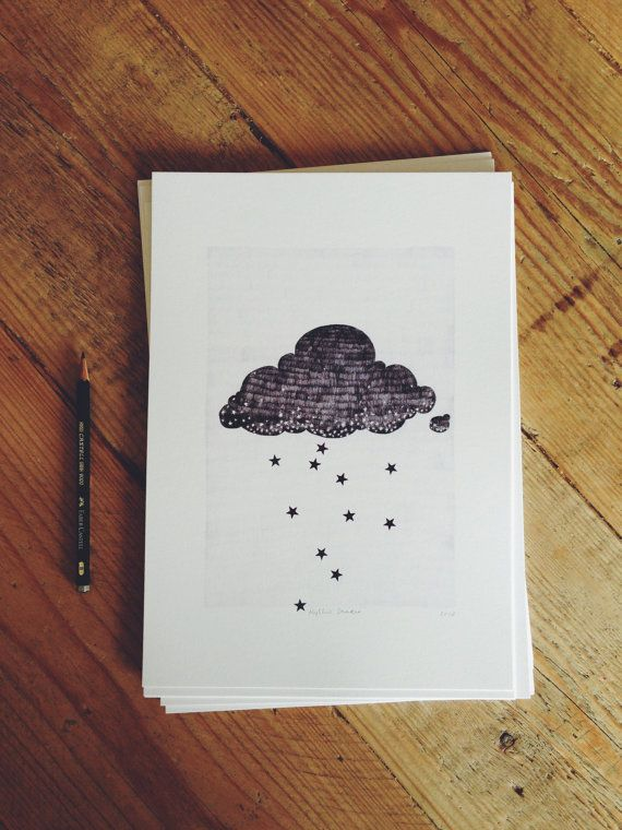 Now available in A4 size too!   - A4 Stargazer cloud print raining stars pencil illustration by Hyshil on Etsy, €20.00