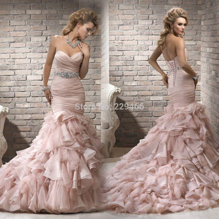 Goedkope , koop rechtstreeks van Chinese leveranciers: gratis verzending organza backless zilveren kralen trouwjurk uniek design sexy zeemeermin roze trouwjurken met trein 2014hoe te meten&