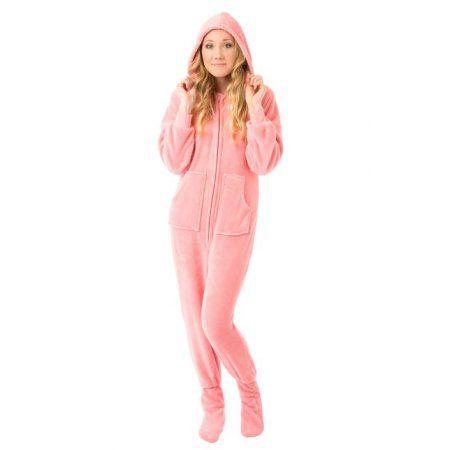 Big Feet Pjs Pink Hoodie Plush Womens Footed Pajamas Onesie w/ Drop Seat Onesie