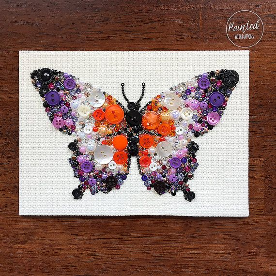 Summer Butterfly Button Art  This piece has been created on a sturdy 7x5 art board covered with a high quality 100% cotton cream color Aida