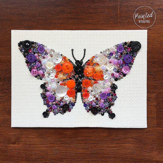 Schmetterling Button Kunst Vintage Knopf von PaintedWithButtons