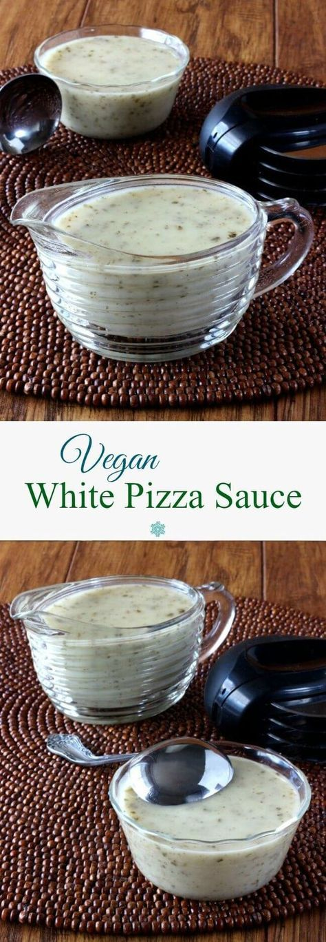Vegan White Pizza Sauce is a tangy garlicky recipe that makes the most flavorful base to a pizza. It will meet all of your culinary needs. Only 15 minutes! ~ http://veganinthefreezer.com