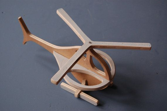 wooden helicopter cut and sanded by hand by LaBrouette on Etsy