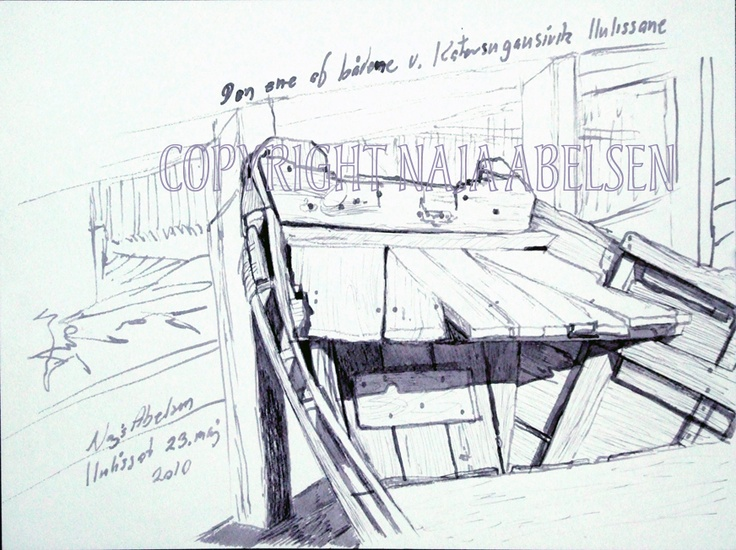 An ink study of an old homemade boat at the museum at Ilulissat, Greenland. 2010. For sale. By Naja Abelsen