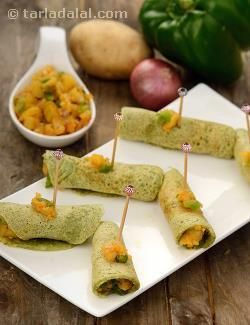 Stuffed Mini Dosas are a formidable contender to samosas! When you are bored of serving the same old samosas and kachoris at high-tea, cocktail or chaat parties, try this exciting snack instead. The mini dosas are conveniently made of a green gram based batter, which requires no fermentation. To add to the crispy excitement of these dosas, they are stuffed with a succulent potato and capsicum mixture, which makes this handy-sized snack a thrilling mouthful indeed!