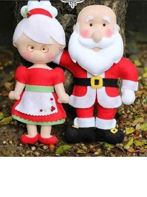 Papai e mamãe noel em feltro, felt mommy mon santa claus, fieltro navidad navidade, christmas felt, natal em feltro