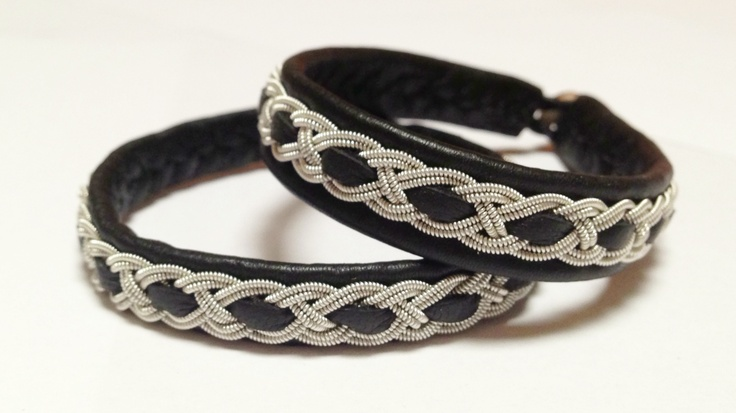 Sami black Reindeer leather with pewter silver bracelet. 1cm wide with shed antler horn button.