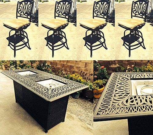 Amazon Com Bar Height Patio Set Cast Aluminum Outdoor